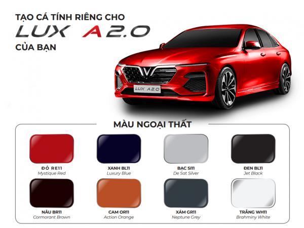 Màu sắc xe VinFast Lux A2.0 vô cùng đa dạng, nổi bật cho người tiêu dùng thoải mái lựa chọn